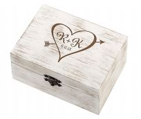 Personalised Heart Initials Rustic Wedding Ring And Vow Box